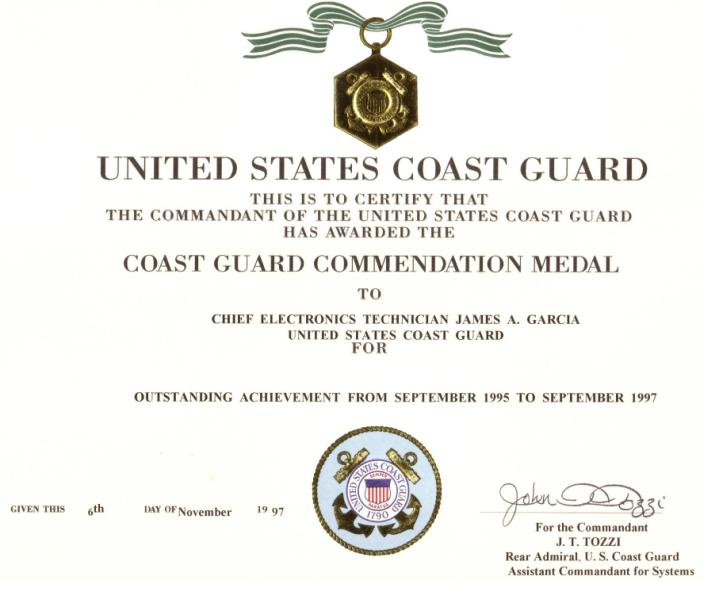 Coast Guard Commendation