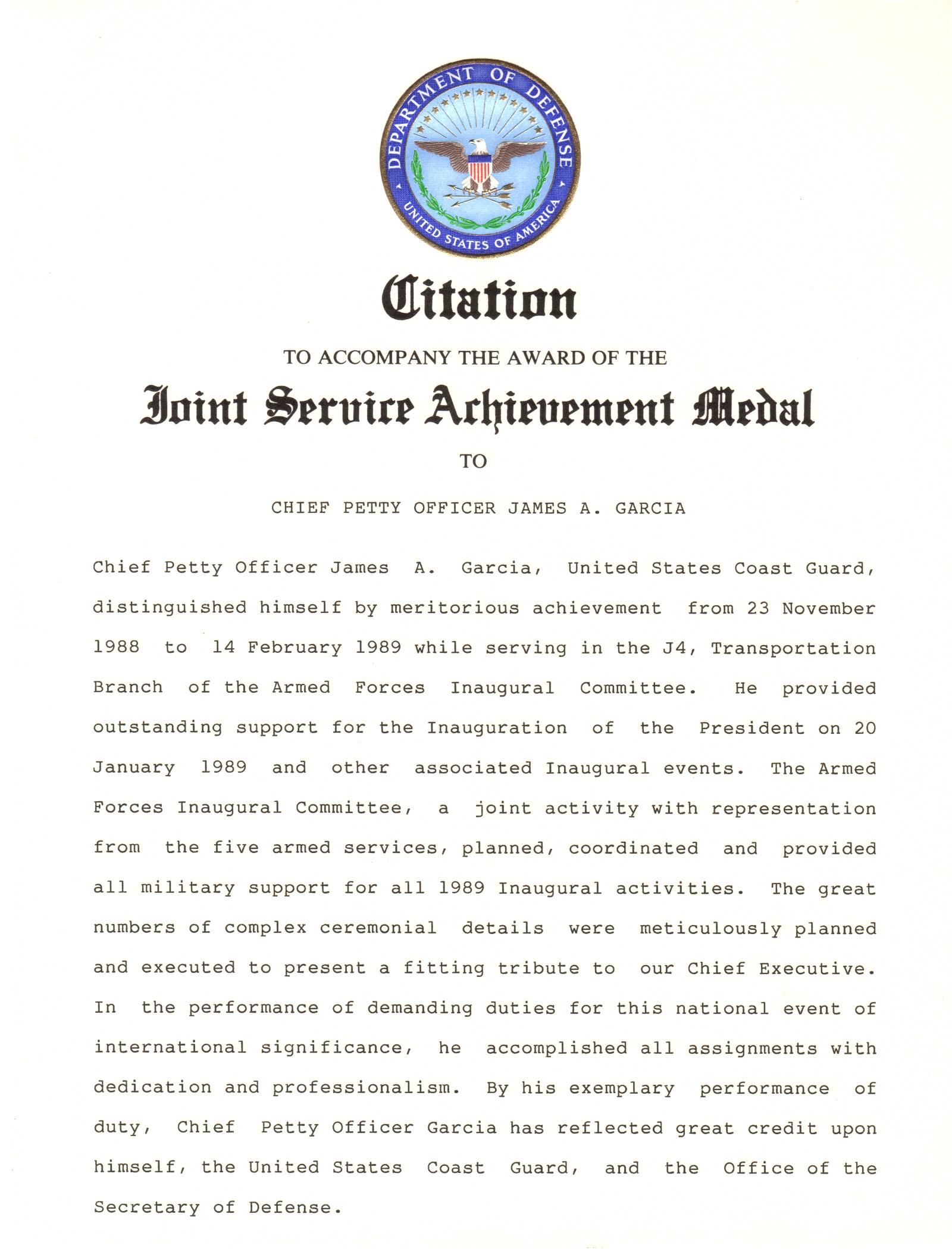 Joint Service Achievment Medal Citation